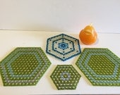 BEADED TRIVETS TURQUOISE and Green, Blue and White, 4 Trivets in All, Mid Century Modern, Kitchen Kitsch at Modern Logic