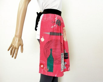 Vintage 1950s Half Apron Hidden Pocket Spices French Recipe Rose Pink Black Apron