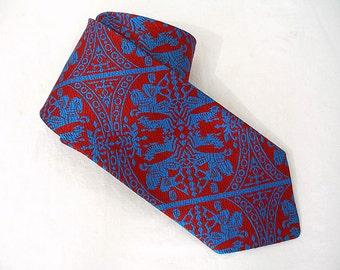 Vintage 1970s Men's Necktie Dark Red Bright Blue Heraldic Design Man's Tie