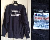 1980s UMASS University of Massachusetts Champion Reverse Weave Sweatshirt size XL Dark Blue made in USA
