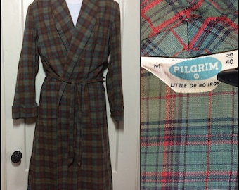 1950's light weight Cotton plaid long belted Robe size Medium by Pilgrim Olive Green Red dark Aqua Blue