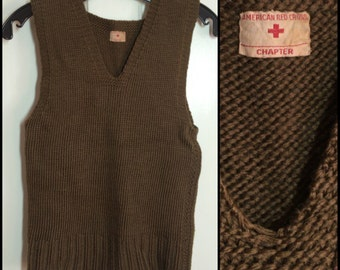 Vintage 1940's WWII American Red Cross wool hand knit Sweater Vest looks size XS Army Brown Green A.R.C. arc Chapter #2