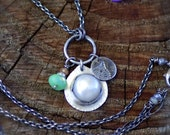 Freshwater Pearl and Chrysoprase Gemstone Cluster Necklace with Fine Silver and Sterling Silver