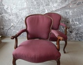Vintage chairs pair  french Louis Bergere accent price includes upholstery and paint service