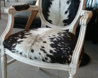 Cowhide chair vintage genuine Louis rustic shabby chic accent side dining living