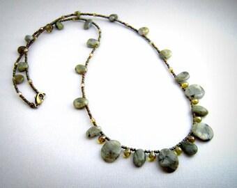 Labradorite Necklace Long Statement Necklace Green Gemstone Necklace Stone Bib Necklace Boho Jewelry Handemade