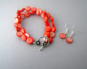 Coral Bridesmaid Jewelry Set, Double Strand Bracelet and Earrings Set, Bridesmaid Gift, Pink Coral Wedding Jewelry