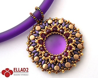 Tutorial Heva Pendant - Beading Tutorial, Beading Pattern, Jewelry Tutorial, Ellad2