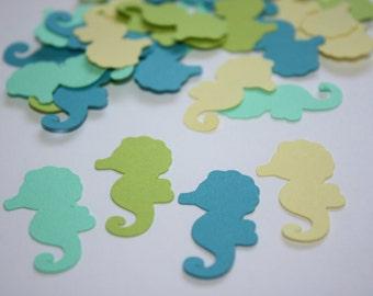 Seahorse Die Cut Table confetti pieces - Green, Blue, Yellow