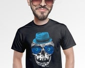 skull tshirt mens crazy cool tee nerdy geeky unique quirky artsy lowbrow funny shirt gift for hip college teen students fan of skulls  s-4xl