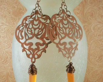 Gypsy Cowgirl Earrings - Shabby Orange Brass Filigree with Sea Glass Dangles