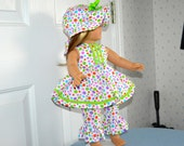 18 Inch Doll Sleeveless Seersucker Polka Dot Dress, Matching Ruffled Pants and Floppy Brimmed Hat by SEWSWEETDAISY