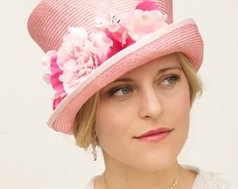 Pink Hat with Flowers, Wedding Hat, Pink Flower Top Hat,  Pink Cloche, Kentucky Derby Hat, Women's Pink Straw Hat, Ascot Hat, Fancy Hat