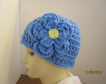 Light Blue Beanie with detachable flower