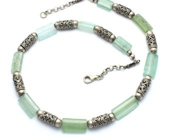 Stunning one of a kind  925 Silver Filigree Roman Glass Rims Necklace