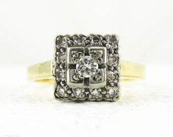 Vintage Pave Set Diamond Engagement Ring, Square Shape Diamond Ring, Bold Design in 18 Carat Gold, Circa 1960s.