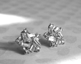 SALE Vintage Rhinestone Studs / Stud Rhinestone Earrings / Accessories / Vintage Jewelry / Gift for Her / Boho Chic Earrings /Studs
