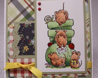 Mice, Mouse Handmade Greeting Card