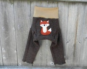 Upcycled  Merino Wool  Longies Soaker Cover Diaper Cover With Added Doubler Brown /Beige With Fox Applique LARGE 12-24