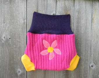Upcycled Wool  Soaker Cover Diaper Cover With Added Doubler Purple/Pink/Yellow  With Flower Applique MEDIUM 6 - 12M Kidsgogreen
