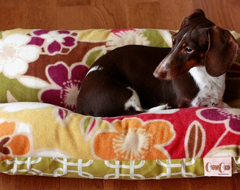 Large Flowers, Bunbed, Dachshund Dog Bed, Small Dog Bed, Burrow Bed, Bun Bed, Retro Green Purple Plush Fleece Modern Green Squares Dog Bed