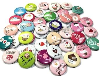 "Cupcake, 1"", Button, Cupcake Pin, Cupcake Pinback, Cupcake Decor, Cupcake Flatback, Cupcake Theme, Cupcake Embellishment, I Love Cupcakes"