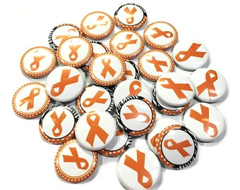 "Leukemia, 1"" Button, Leukemia Awareness Pin, Leukemia Button, Leukemia Pin, Cancer Awareness, Orange Ribbon Pin, Leukemia Supoort, Leukemia"