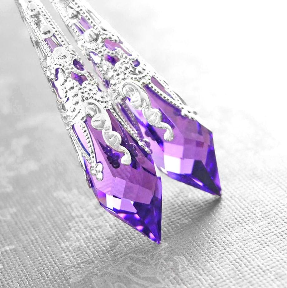 Purple Crystal Earrings Sterling Silver Earrings Swarovski
