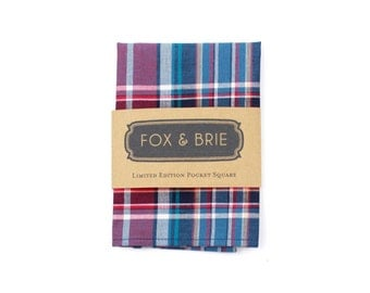 Berry Plaid Pocket Square