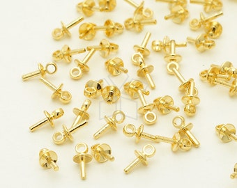 CP-058-GD / 20 Pcs - Tiny Mini Simple Bead Cap with Peg for Half Drilled Pearl, Gold Plated over Brass / 3mm