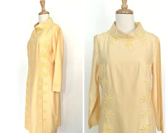 Vintage 60s Shift Dress - Alfred Werber - sheath - mod  dress - mad men - yellow wedding dress - bridesmaid - knee length - Medium