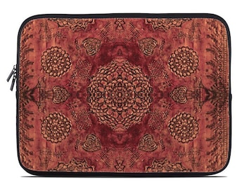 Boho laptop case, marsala red boho laptop sleeve, bohemian laptop cover, tablet sleeve, netbook case, to fit 10, 13, 15, 17 inch