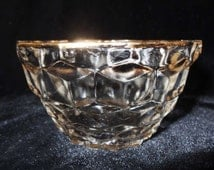 Small Round Crystal Candy Dish Gold Leaf Rim Waffle Pattern Home & Garden Kitchen and Dining Serve Ware Tableware Bowls