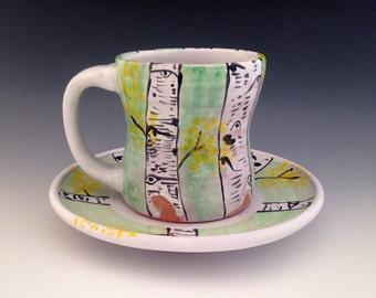 Mug Set, Cup and Plate with Aspen Trees in Meadow Green, 12 oz.