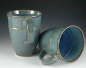 One Pair - 12 oz  Elegant Light Blue Ceramic Coffee Mug - Stoneware pottery