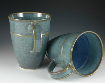 One Pair - 12 oz  Elegant Light Blue Ceramic Coffee Mug - Stoneware pottery