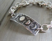Traveler's Moon, Moon Phases Bracelet, Personalized, Trees, Handmade Link in Recycled Silver with Heavy Fine Silver Chain