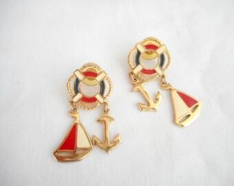 Vintage Nautical Red White Blue Enamel Yacht Pierced Earrings