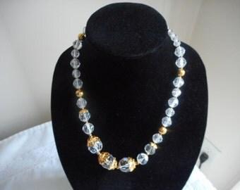 Vintage Jacqueline Ferrar Clear Lucite Gold Trim Necklace