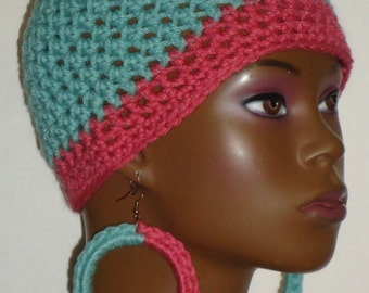 Sea Green and Rose Crochet Beanie Skullcap with Earrings by Razonda Lee Razondalee Ready to Ship