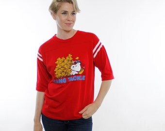 Vintage 70's Snoopy & Woodstock t-shirt, football, bright red, super soft cotton, Football Jersey style, stripes on sleeves - Large / Medium