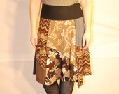 Recycled tee shirt skirt  plus size with yoga pant style waistband P0092