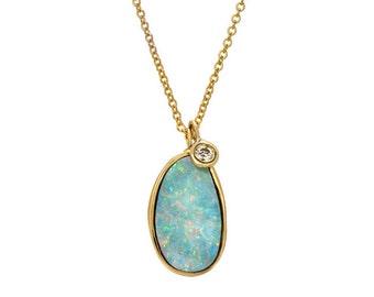 Opal Necklace, Australian Opal Necklace, Opal Diamond Necklace, Opal Pendant Necklace, Long Opal Necklace, Blue Opal Necklace, Opal, NIXIN
