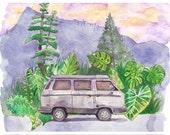 VW Westfalia Watercolor Art Print