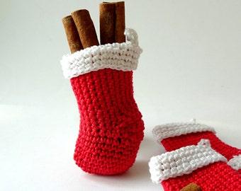 Christmas stocking decorations - small Santa stocking - crochet stockings - red Christmas ornaments - Kids Christmas stockings - 1 piece