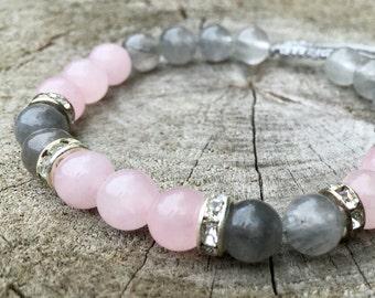 GRACE- Rose Quartz and Smoky Quartz Wrist Mala Bracelet.