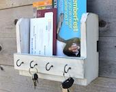 Modern Rustic Mail Organizer, Key Hook, Dog Leash Holder, Entryway Organizer