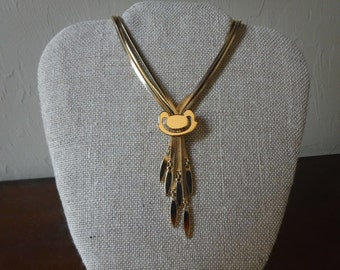 Vintage Monet Gold Adjustable Tassel Necklace // FR 1