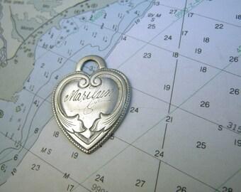 "Engraved ""Marilyn"" Silver Heart Charm Pendant"