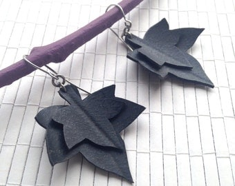 Layered Ivy Leaf Earrings Upcycled from Recycled Bike Tube Jewelry